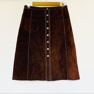 BCBG MaxAzria Brown Suede Leather A-Line Skirt